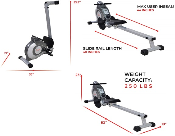 Sunny Health & Fitness Magnetic Rowing Machine Dimensions